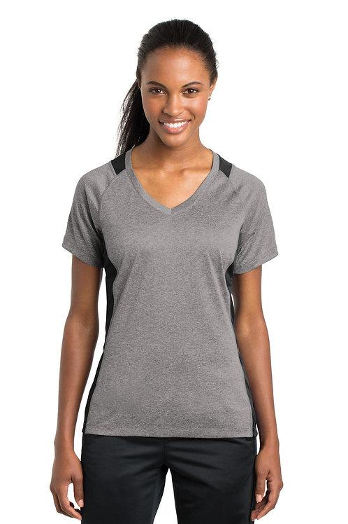 Sport-Tek® Ladies Heather Colorblock Contender™ V-Neck Tee. LST361