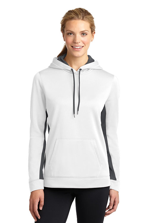 Sport-Tek® Ladies Sport-Wick® Fleece Colorblock Hooded Pullover. LST235