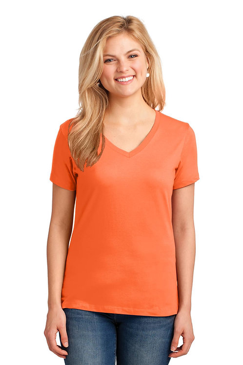 Port & Company® Ladies Core Cotton V-Neck Tee. LPC54V