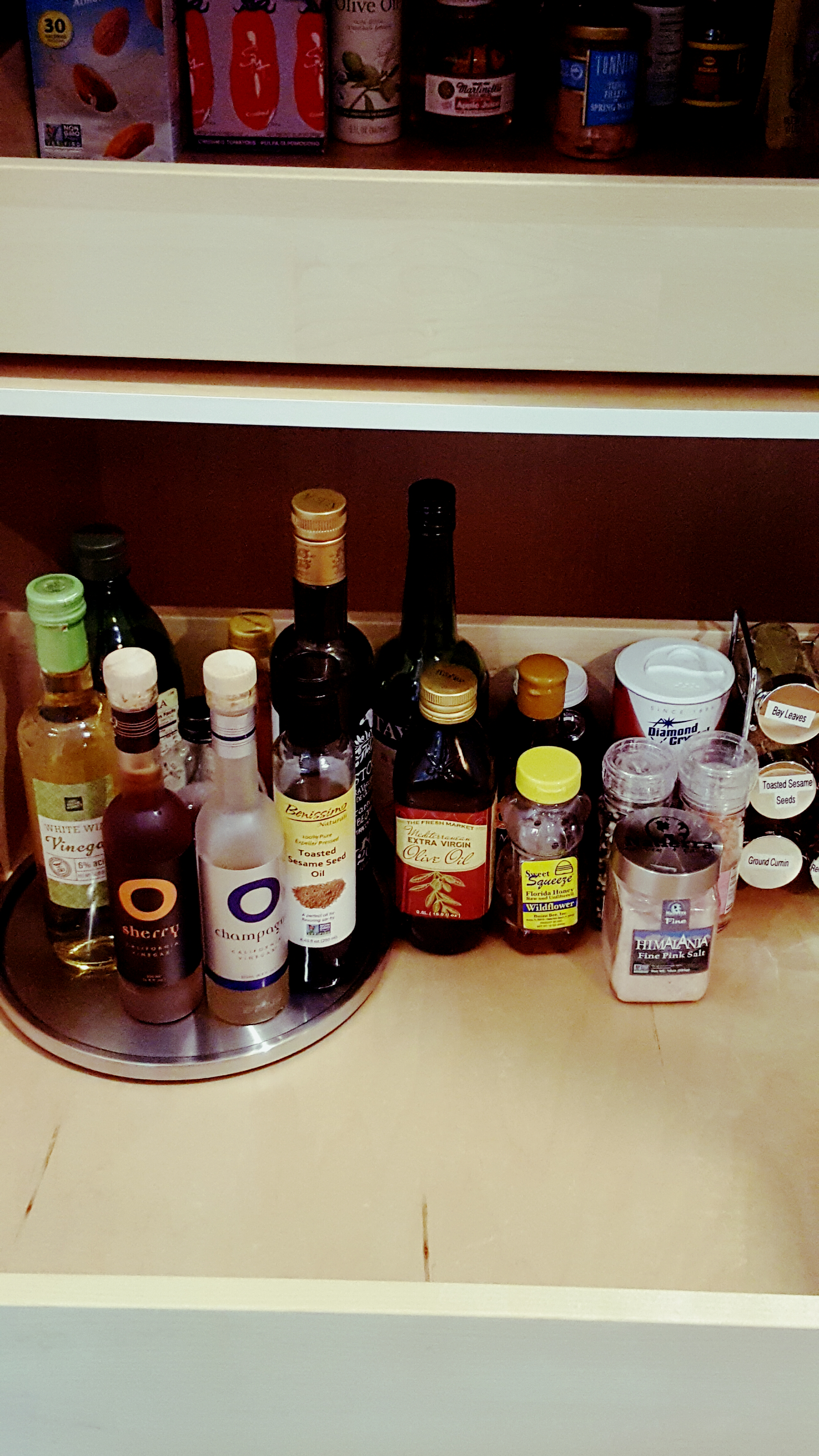 Nicely organized Oils and vinegars