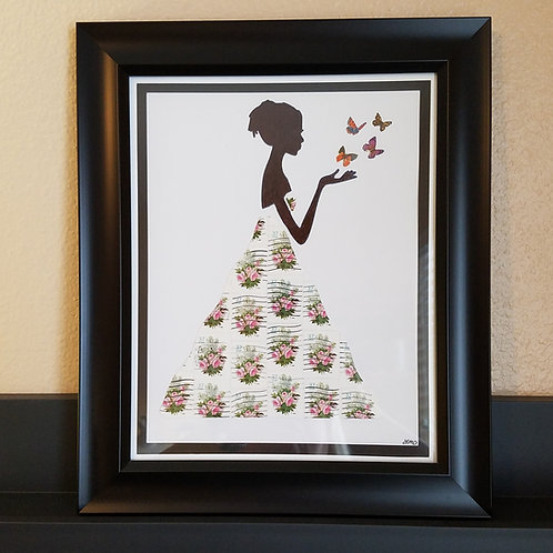 Lady with Butterflies 8x10 (FRAMED)