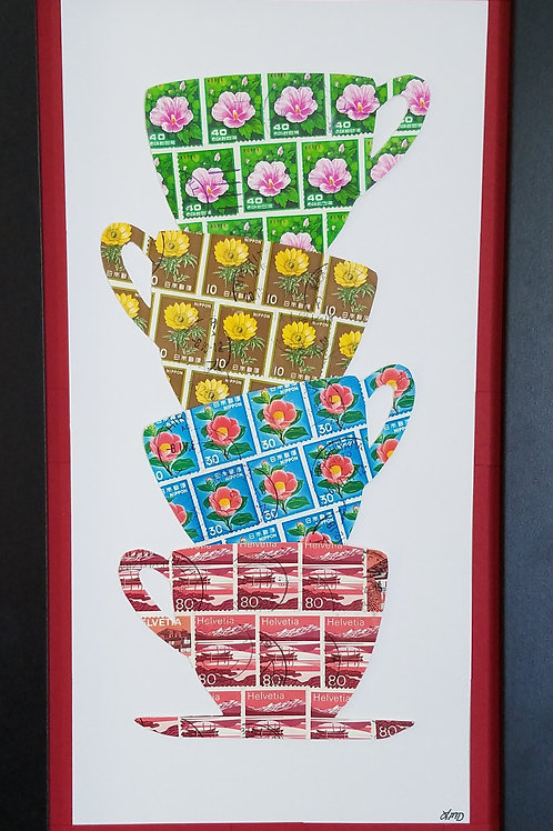 Stacking Tea Cups 6x12 (FRAMED)