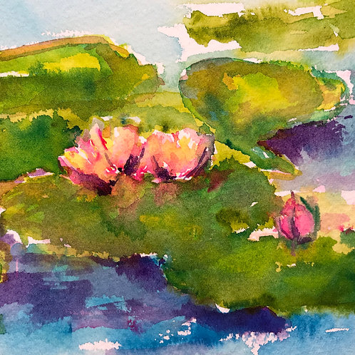 Watercolor Water Lilies