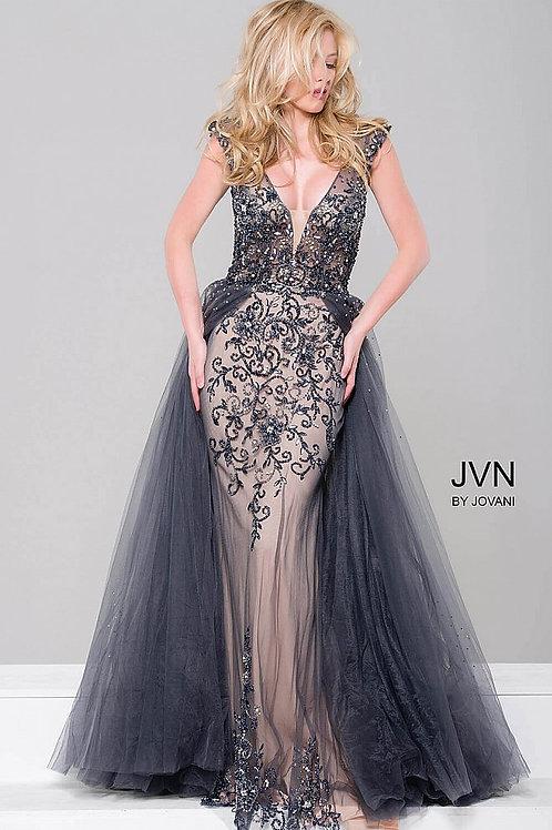 JVN by Jovani JVN46081 Embellished Column Dress with Tulle Overlay