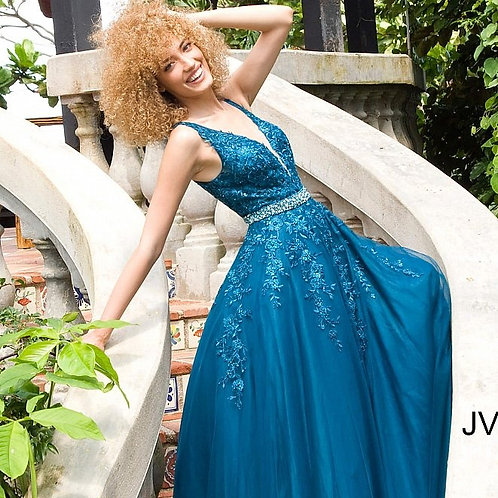 JVN by Jovani JVN00925 Plunging Neckline Embroidered Ballgown