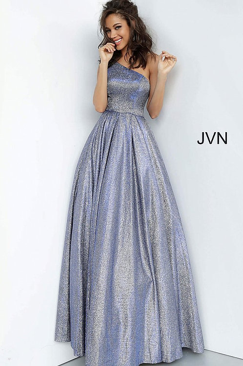 JVN by Jovani JVN02541 Royal One Shoulder Pleated Skirt Prom Gown