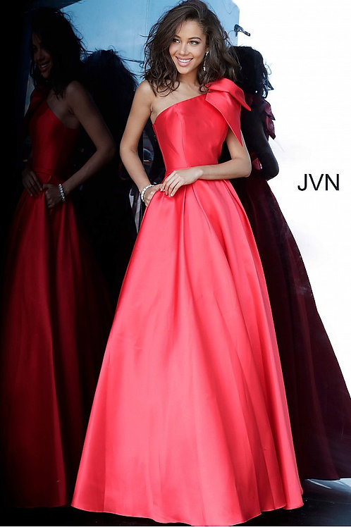 JVN by Jovani JVN4355 Red One Shoulder Pleated Skirt Prom Gown