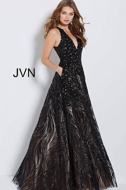 JVN by Jovani JVN60641 Sequin Embellished Evening A Line Dress