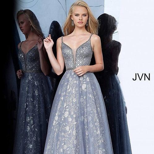 Jovani JVN4297Charcoal Embellished Sleeveless Prom Ballgown