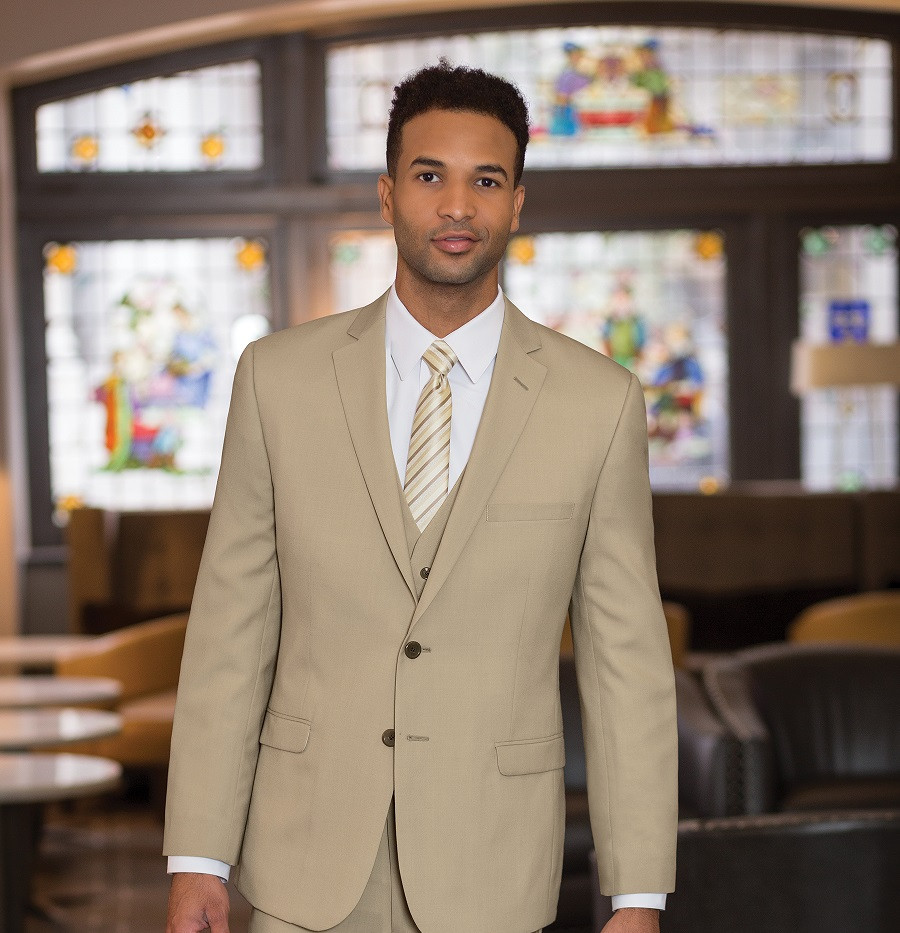Slim fit suit in Tan