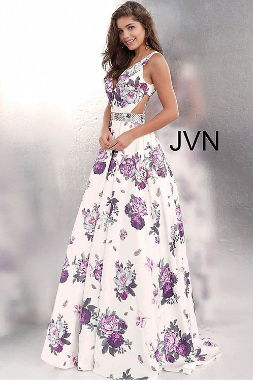 JVN by Jovani JVN62624 Floral Print Side Cut Outs Ballgown