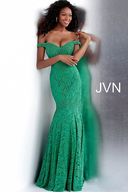 JVN by Jovani JVN62564 Embellished Off the Shoulder Lace Prom Dress