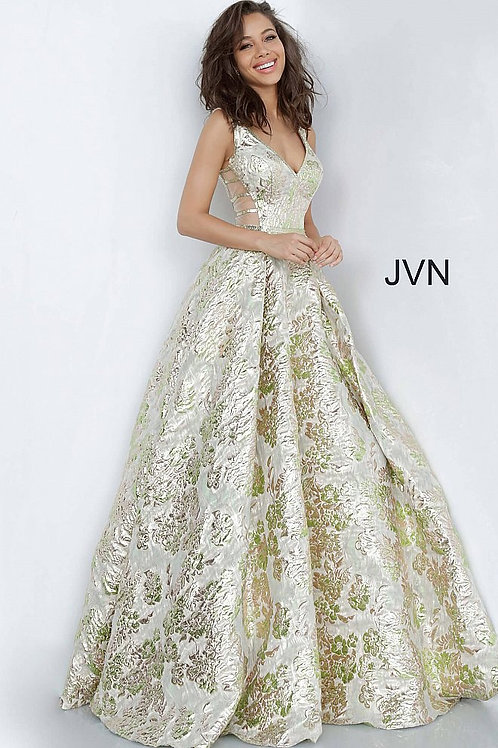 JVN by Jovani JVN3809 Green Gold V Neck A Line Prom Gown