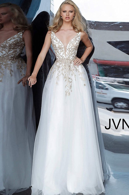 JVN by Jovani JVN2302 White Gold Embroidered Plunging Neck Prom Dress