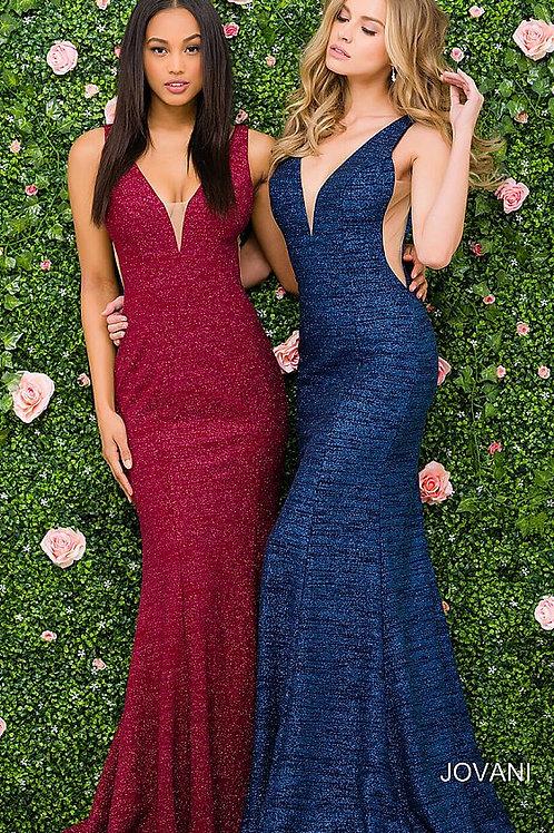 Multi Glitter Jersey Plunging Neckline Jovani Dress 45811