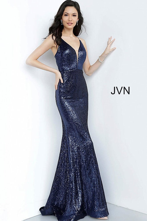 JVN by Jovani JVN4696 Navy Sequin Plunging Neckline Fitted Prom Dress