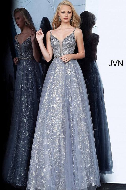 JVN by Jovani JVN4297 Charcoal Embellished Sleeveless Prom Ballgown