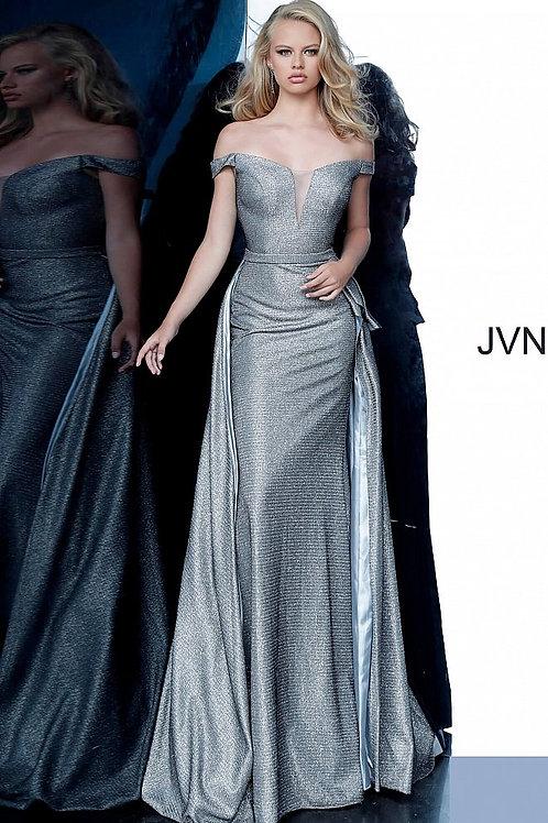JVN2560 Grey Off the Shoulder V Neck Prom Dress