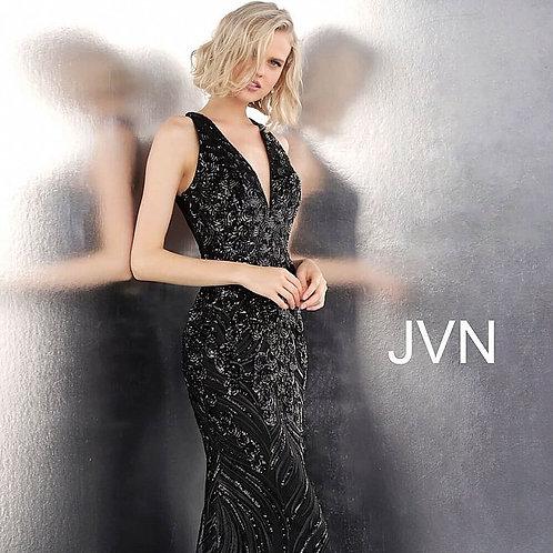 JVN66261 Black Embellished Open Back Sleeveless Prom Dress