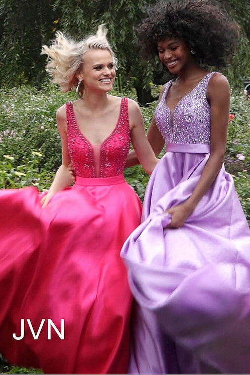 JVN by Jovani JVN67198  Embellished Bodice Pleated Skirt Dress