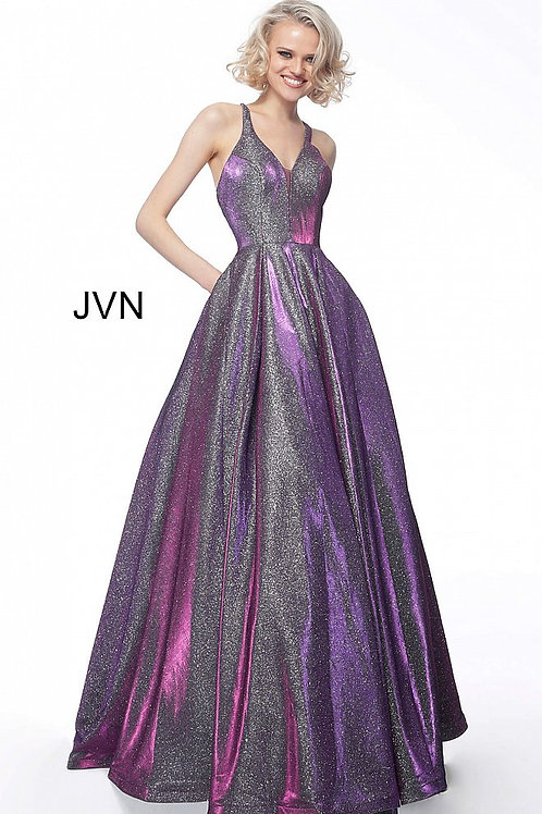 JVN65851 Criss Cross Back A Line Prom Gown