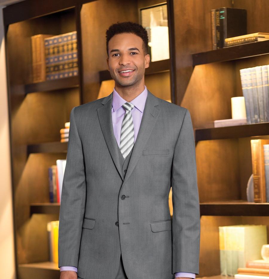Light gray slim fit suit