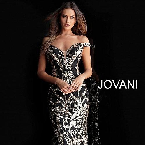 Jovani Off the Shoulder Sequin Prom Dress 63349