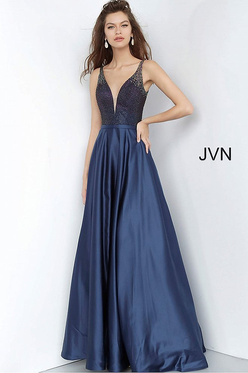 JVN by Jovani JVN2469 Navy Beaded Bodice Plunging Neck Prom Gown