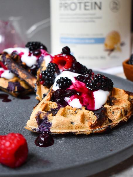 Gluten-Free Triple Berry Protein Waffles