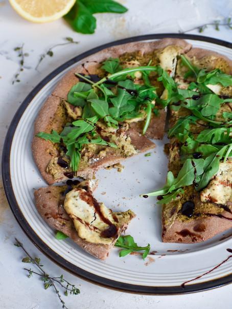 Vegan Pesto Ricotta Pizza with Date Balsamic Glaze