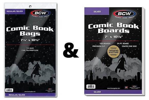 Comic Bag & Board BUNDLE (100 each) - Silver Age BCW