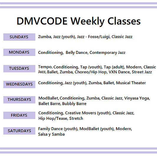 DMVCODE Web Revised Schedule 8.6.2020.pn