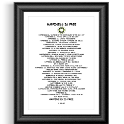 Happiness is Free Poster