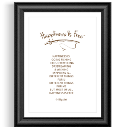 Happiness is Free Fishing Poster