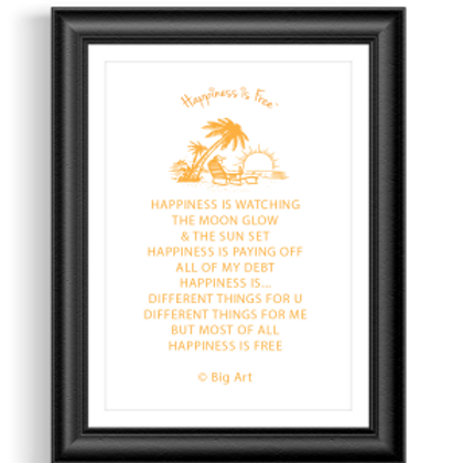 Happiness is Free Sunset Poster