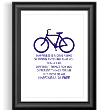 Happiness is Free Bike Poster