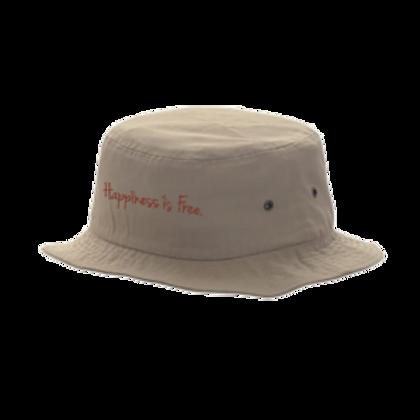 Khaki Happiness is Free Cursive Bucket Hat