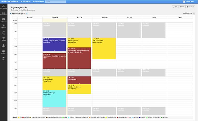 ShopLoader Technician Schedule