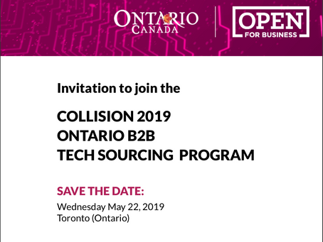 Ontario Open for Business invites to join the Collision 2019 B2B Tech Sourcing Program