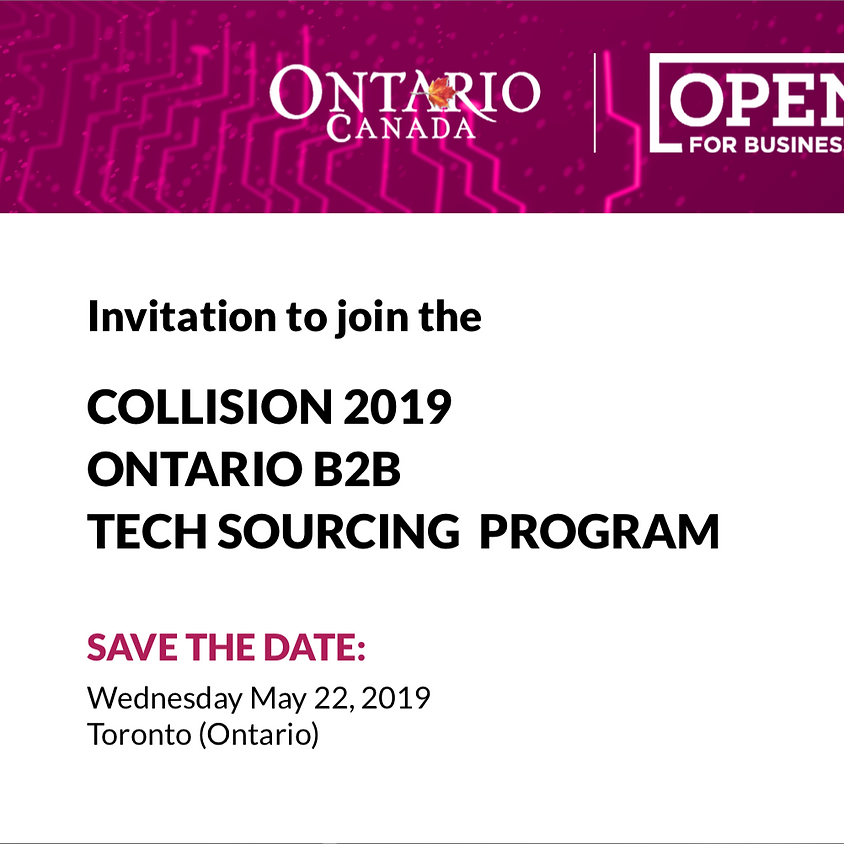 Invitation to join the Collision 2019 Ontario B2B Tech Sourcing Program