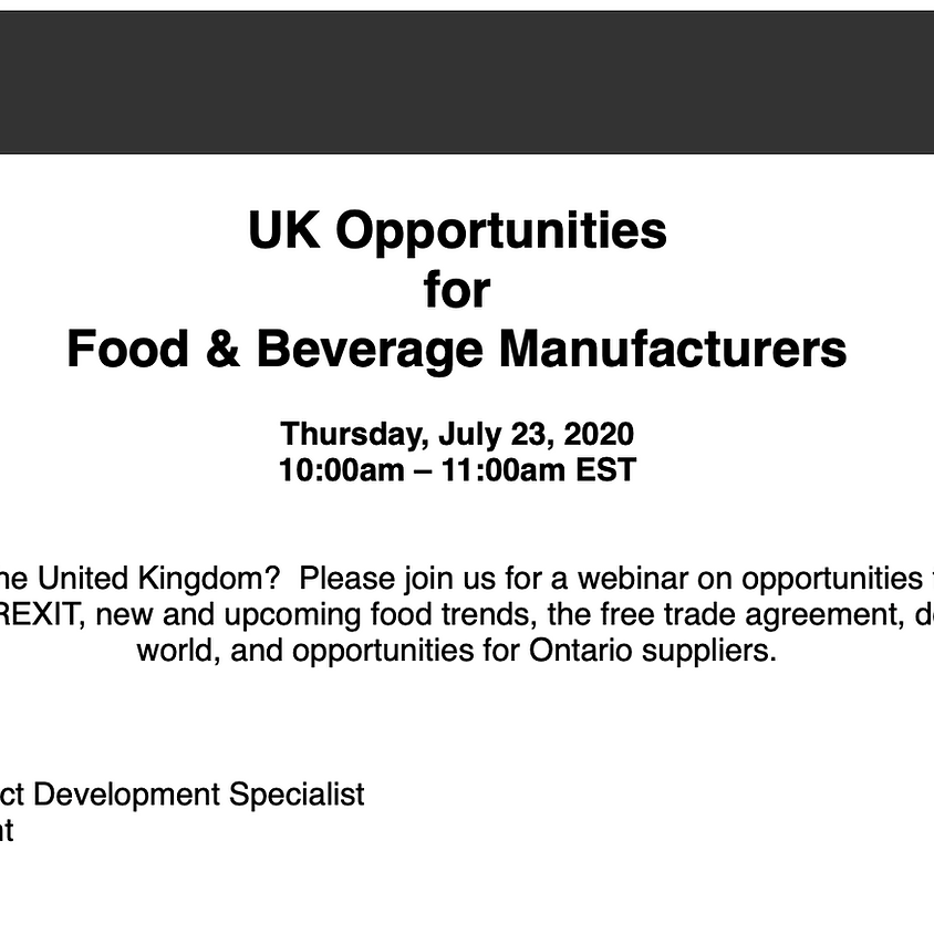 Ontario Ministry webinar: UK Opportunities for Food & Beverage Manufacturers