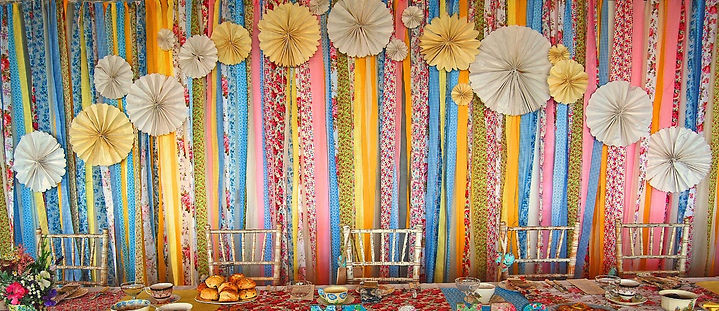 Fabric streamer backdrop to hire