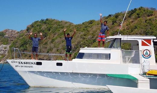 Boat crew from Dugong Dive Center, Palawan, Philippines