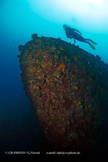Bow of shipwreck World War 2, Kyokuzan Maru, WWII, Palawan, Philippines