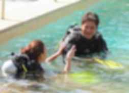 Dive instructor and student in the pool, Palawan, Philippines