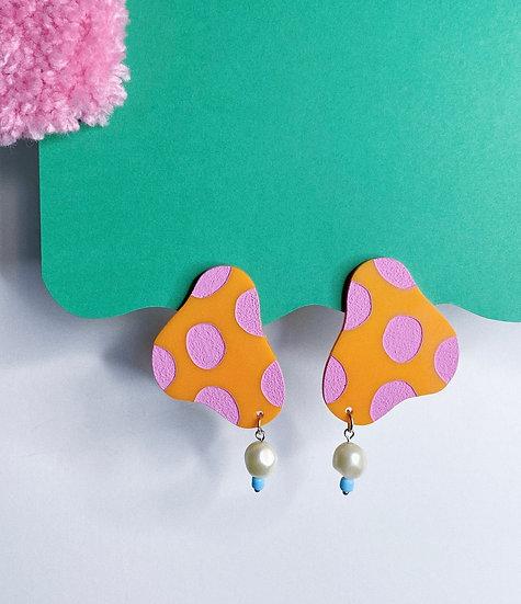 Polka Dot Blob Earrings- Orange/Pink