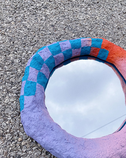 Paper Mache Mirror- Lilac/Pink/Orange