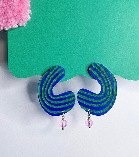 Stripe Blob Earrings- Blue/Green