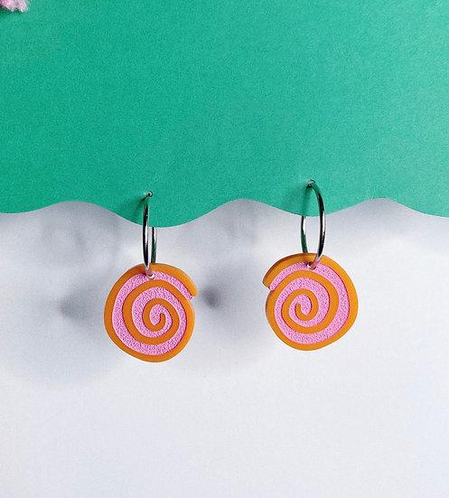 Spiral Hoops- Orange/Pink