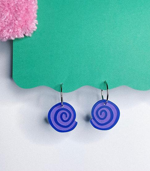 Spiral Hoops- Blue/Purple